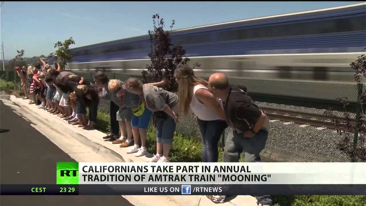 Amtrak Mooning Pictures californians bared their rears in a ritual - youtube