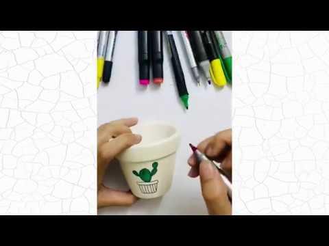 Hướng dẫn vẽ chậu đất nung đơn giản   Vẽ chậu sen đá bằng màu acrylic