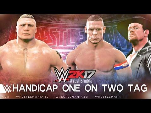 WWE 2K17 Brock Lesnar Vs John Cena And Undertaker | Handicap Match - PS4 Gameplay