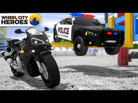 Motorbike lured the Police Car into its traps   Wheel City Heroes