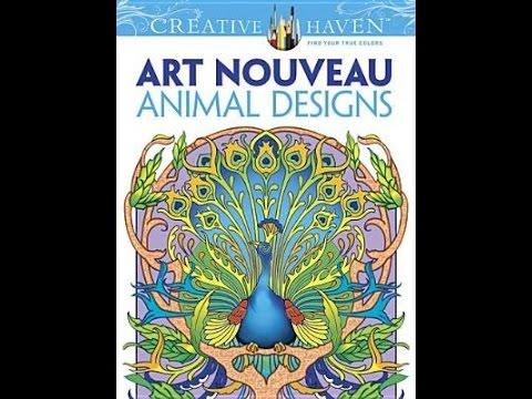 Flip Through Dovers Creative Haven Art Nouveau Animal Designs Coloring Book
