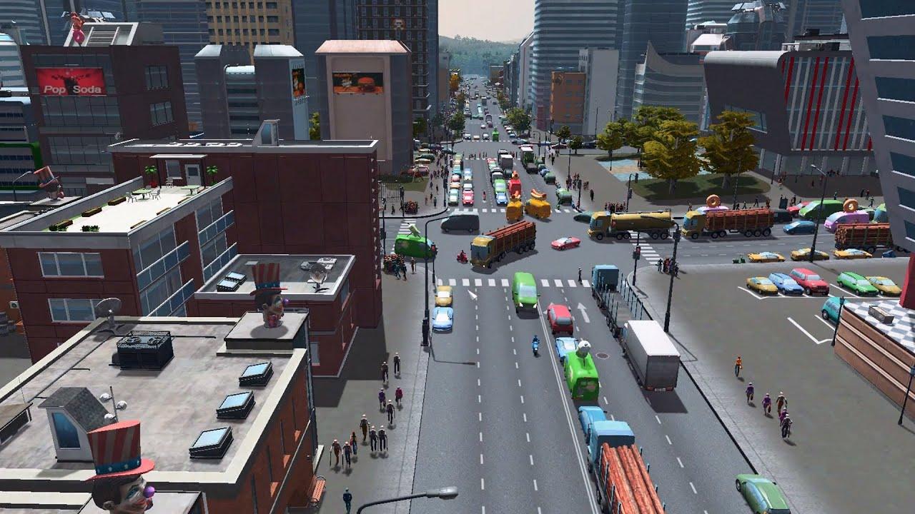 Cities skylines optimised lane road gridded city