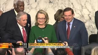 Clinton's glasses correct double vision after concussion