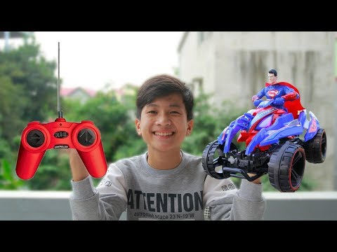 Remote Control Toy Motorcycles Superman For Children   Car Toys   Songs For Kids   Toy Reviews
