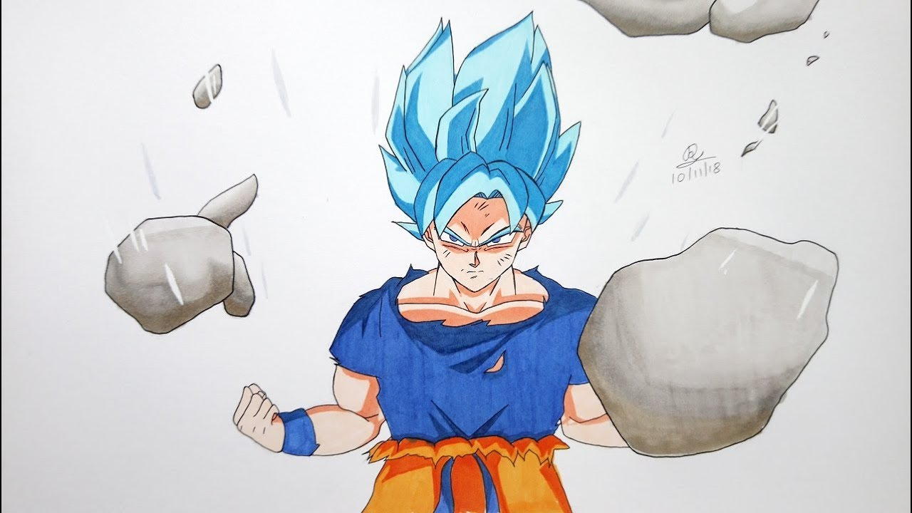 Drawing Super Saiyan Blue Goku In New Movie Style Dragonball Super Broly