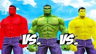 HULK vs RED HULK vs YELLOW HULK - Epic Battle