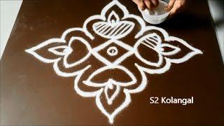 Deepam kolam with 7 to 1 Straight dots - deepam rangoli for karthigai - deepa muggulu