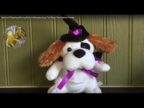Musical Flapping Moving Ears Halloween Dog Toy Plays The Adams Family Music