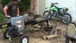 Super fast speed pro Kinetic log splitter in action - scary fast log splitting. Watch your fingers.