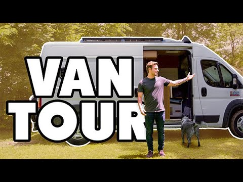 dude-lives-full-time-in-promaster-van-with-pets-|-shower-and-solar