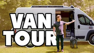 Dude lives full time in promaster van with pets | Shower and Solar