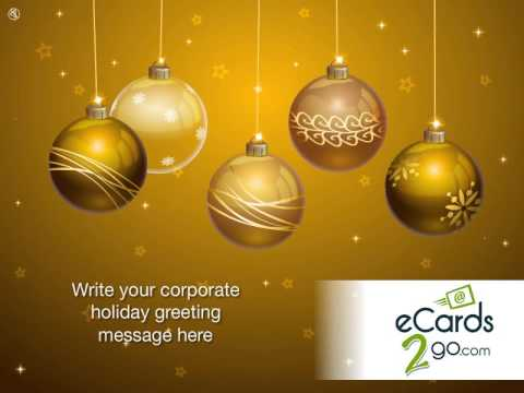 Business Happy Holidays eCard - Glowing Baubles in Gold by eCards2go.com