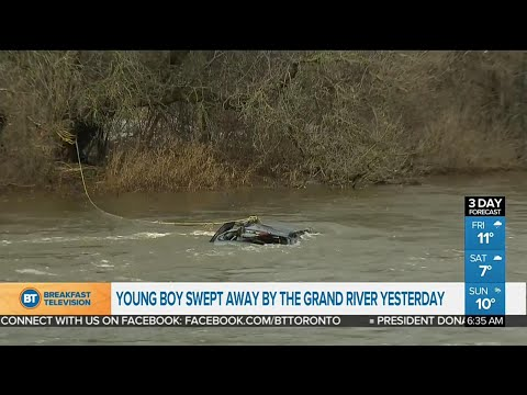 Recovery mission for missing child swept up in Grand River