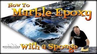 How to Marble Epoxy with a Sponge , epoxy countertop diy