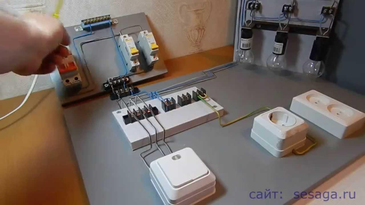 схема подключения лампы выключателем