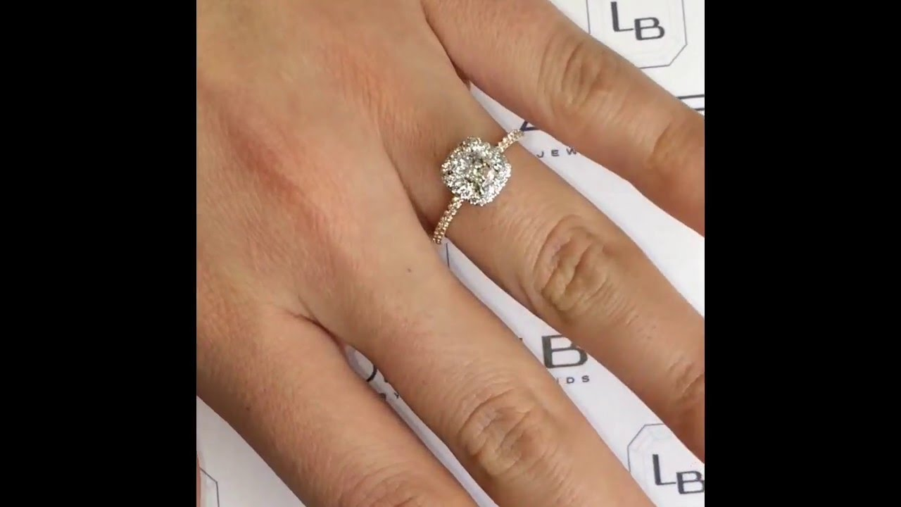 1 carat Cushion Cut Diamond TwoTone Engagement Ring YouTube