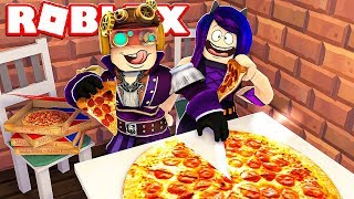 PORTO I MIEI AMICI A MANGIARE LA PIZZA SU ROBLOX!!!