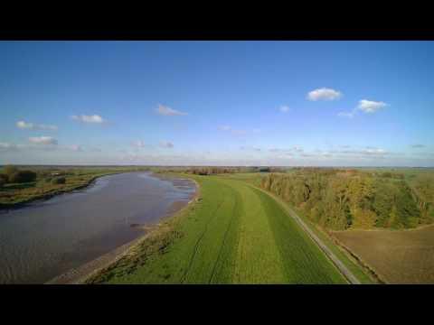 Ostfriesland River Germany Nature Aerial Ems No Copyright Video