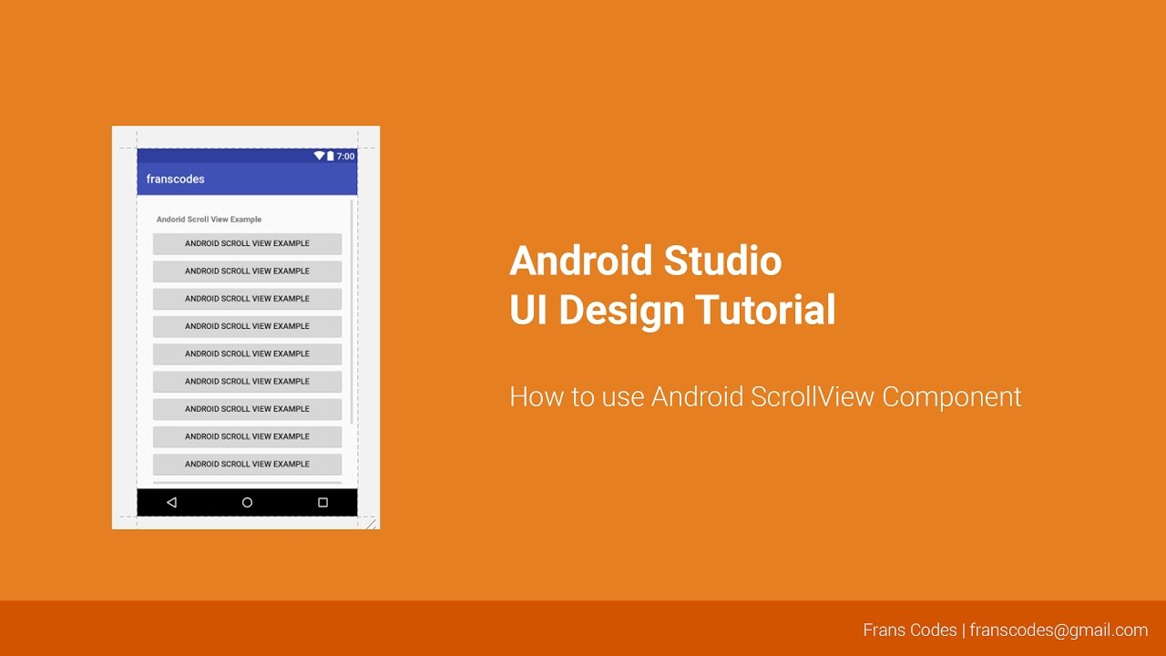 How to use Android ScrollView Component | Android Studio UI Design Tutorial
