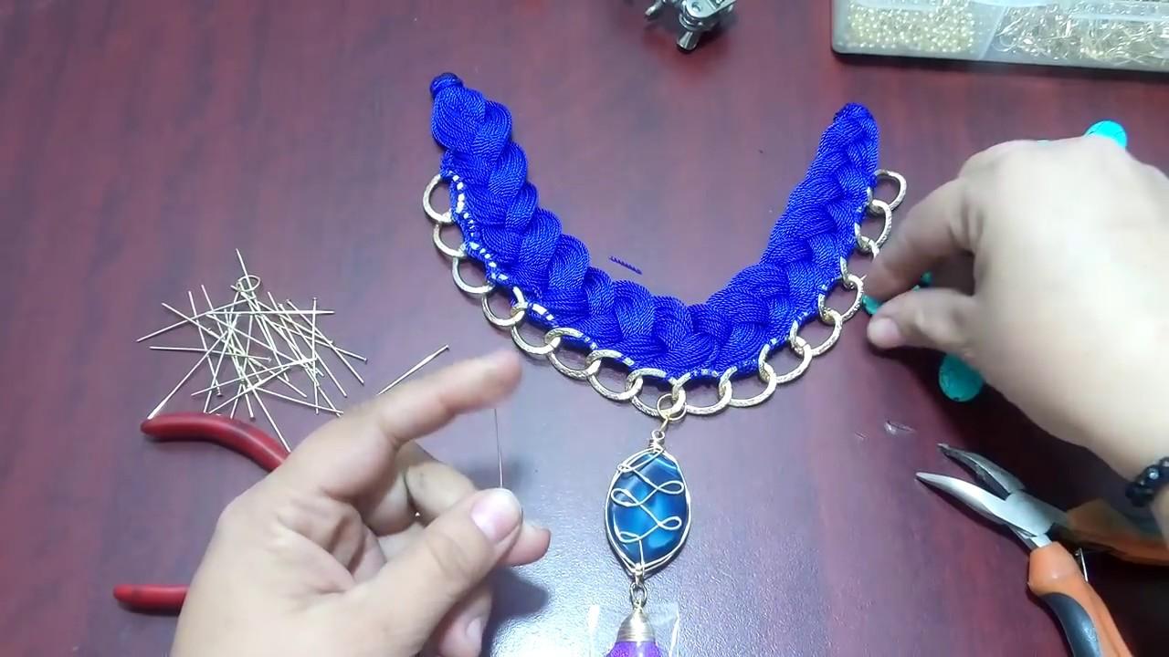57c6875d5c70 Collar trenzado con hilo y cadena - YouTube