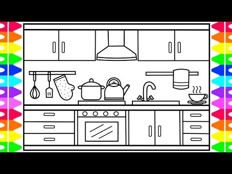 How to Draw a Kitchen for Kids 🍏🍉🍰🍭Kitchen Drawing | Kitchen Coloring Pages for Kids