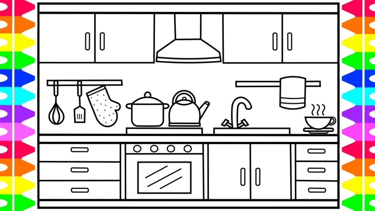 how to draw a kitchen for kids 🍏🍉🍰🍭kitchen drawing