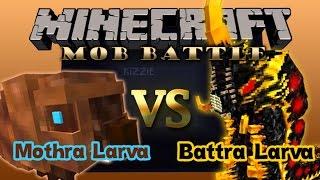 Minecraft Mob Battle:Mothra Larva vs Battra Larva!!!