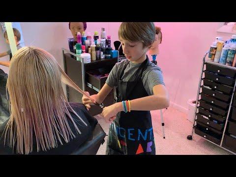 11-Year-Old Aspiring Celeb Hairstylist Runs A Hair Salon In His Parents' Basement