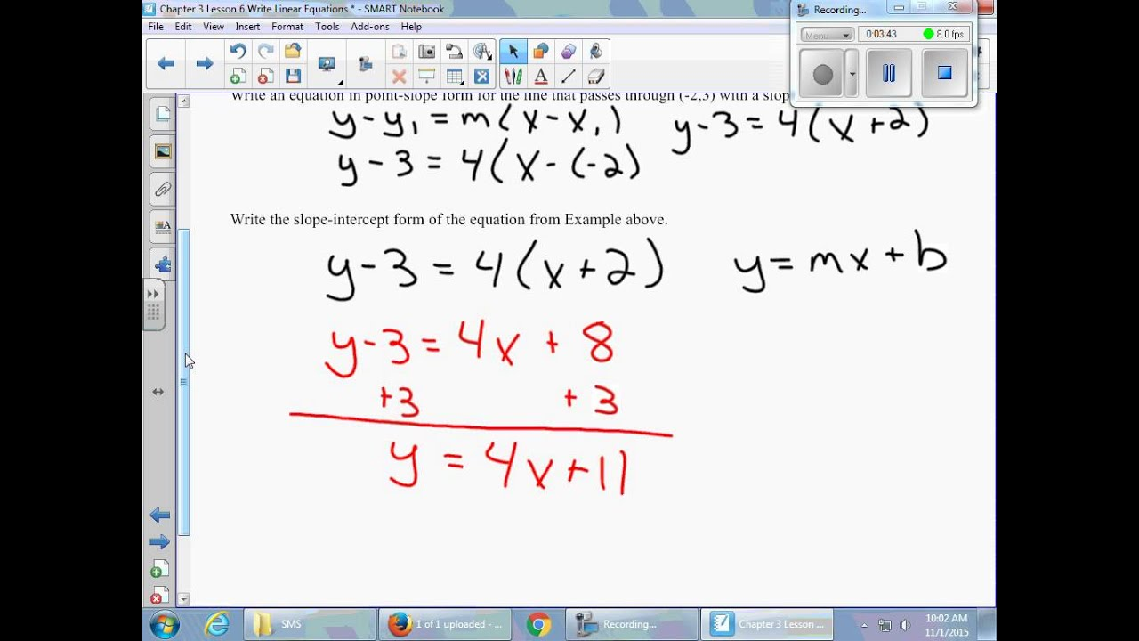 Chapter 3 Lesson 6 Write Linear Equations