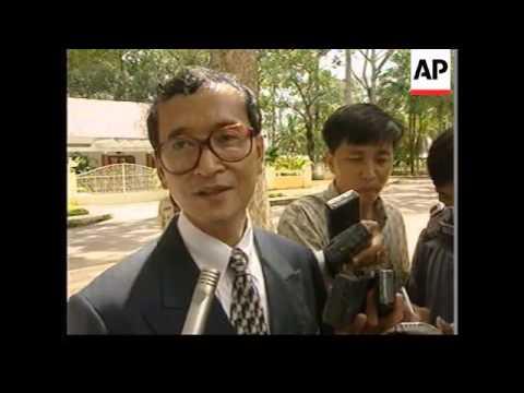 CAMBODIA: SIEM REAP: SAM RAINSY MEETS KING NORODOM SIHANOUK