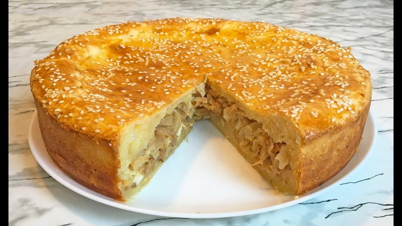 Пирог из Творожного Теста с Тушенной Капустой и Вареными Яйцами / Cabbage Pie / Капустный Пирог