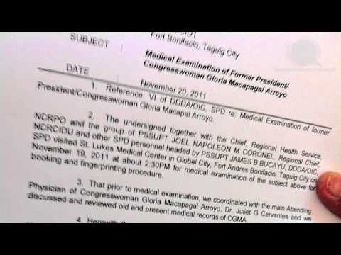 Report of the PNP medical examiner regarding the state of CGMA's health