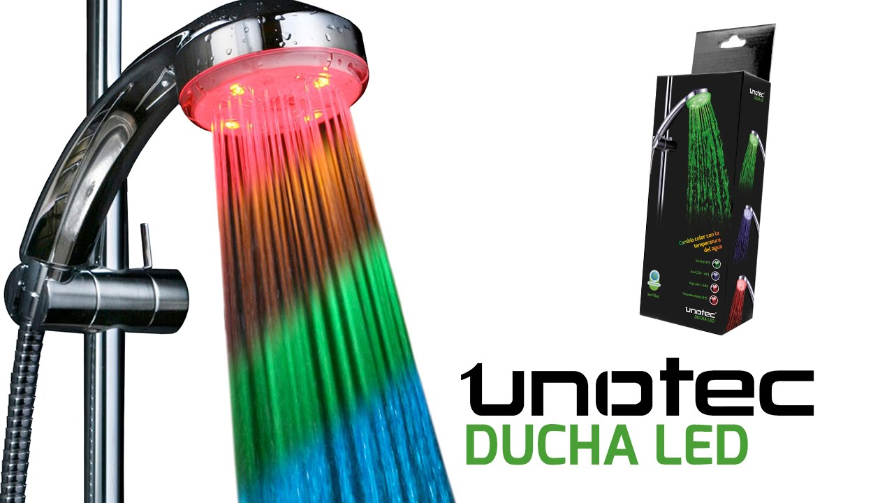 Ducha led unotec cambia de color con la temperatura del for Led para ducha