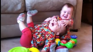 Funny Twin Babies Fighting Over Stuff
