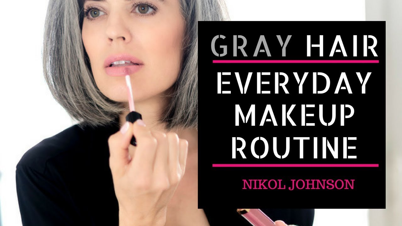 GRAY HAIR | My Everyday Makeup Routine | Nikol Johnson