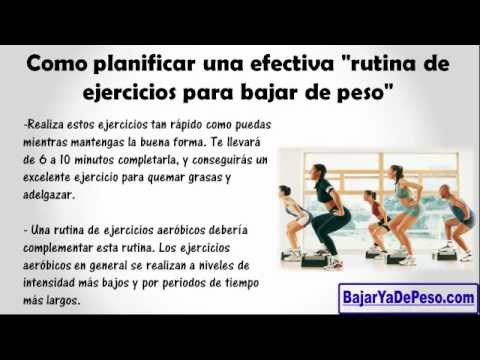 rutina de ejercicios para bajar de peso Rutina de