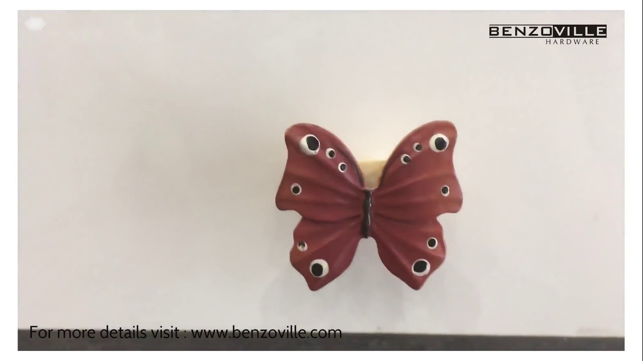 Benzoville Kids Butterfly Colourful Cabinet Knob In Red Black