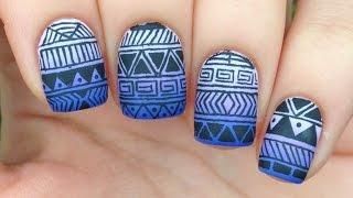 Nail Art Tutorial: Tribal / Aztec Print Over Purple Gradient