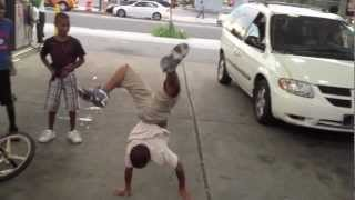 Philly Kids Dance and do flips in gas station