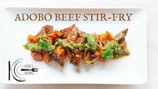 ADOBO BEEF STIR-FRY WITH HONEY SMOKED SWEET POTATOES & CHIMICHURRI | stevescooking