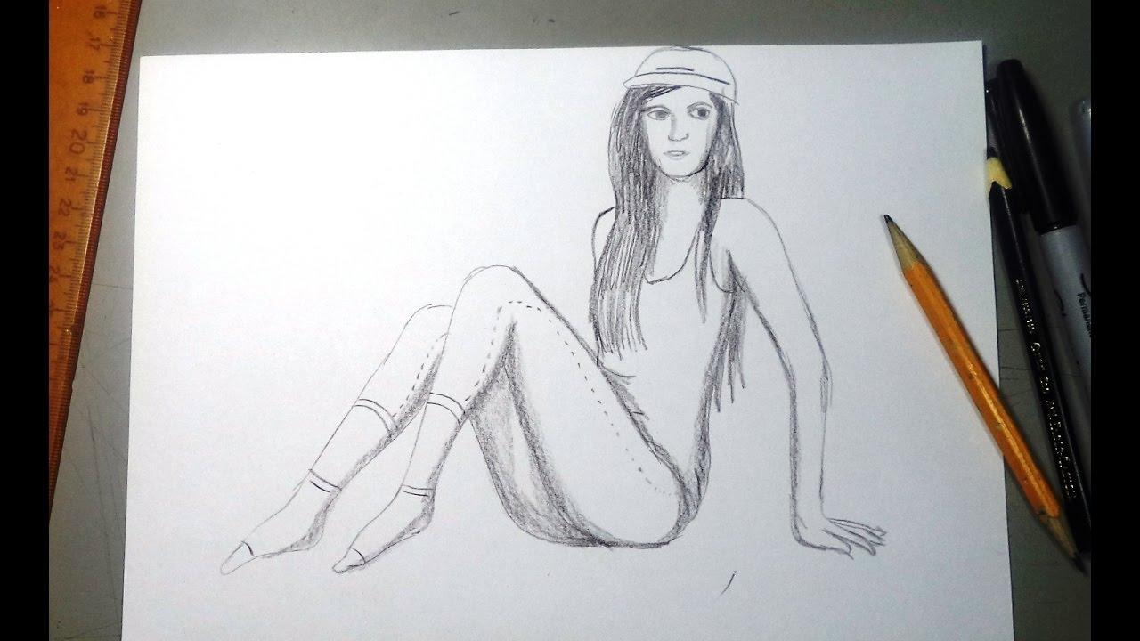 Cmo dibujar una mujer sentada con lpiz y sombras  YouTube