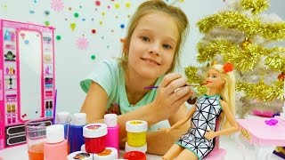 Детское видео про куклы Барби для девочек: Игры макияж на новый год 2017. Игры Барби на #ютуб