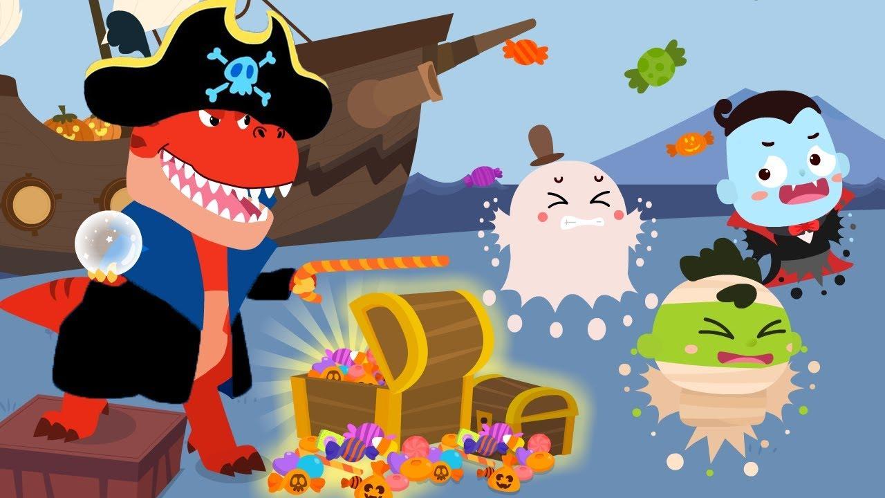 Pirate Dinosaurs Vs Halloween Monsters | Trick or Treat | Halloween Songs | Halloween | BabyBus