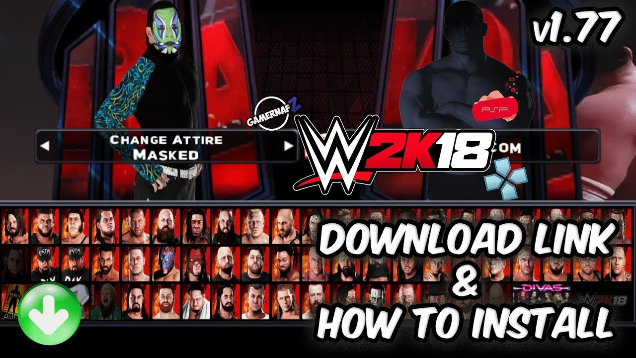 WWE 2K18 PSP, Android/PPSSPP v1.77 - Download Link and How to Install in Android (Movepack Included)
