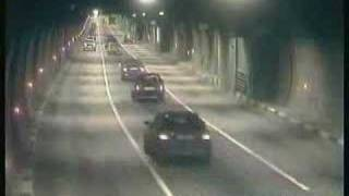 Crazy car crashes in tunnel under a river