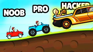 Going Noob vs Pro vs HACKER in Hill Climb...