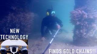Found BIGGEST GOLD CHAIN Underwater Metal Detecting Treasure with (New Technology)