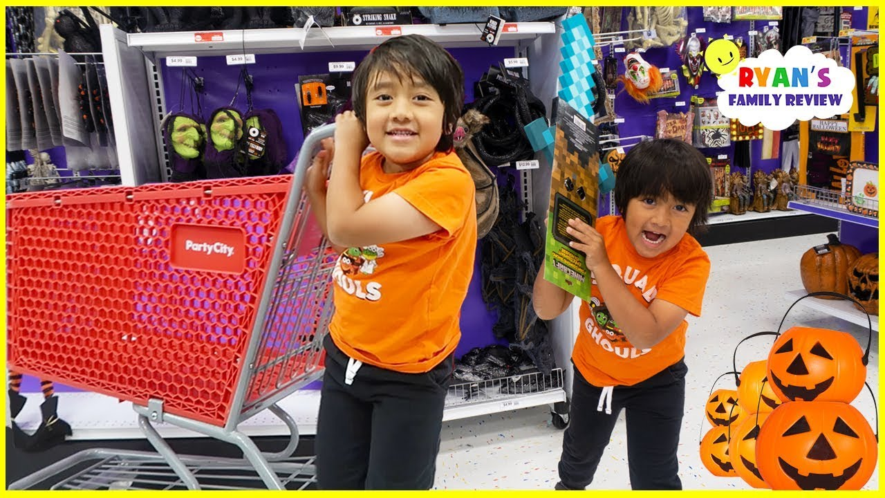 ryan halloween shopping at party city for costumes!!! - youtube