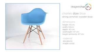 Eames Dining Armchair Wooden Base Blue