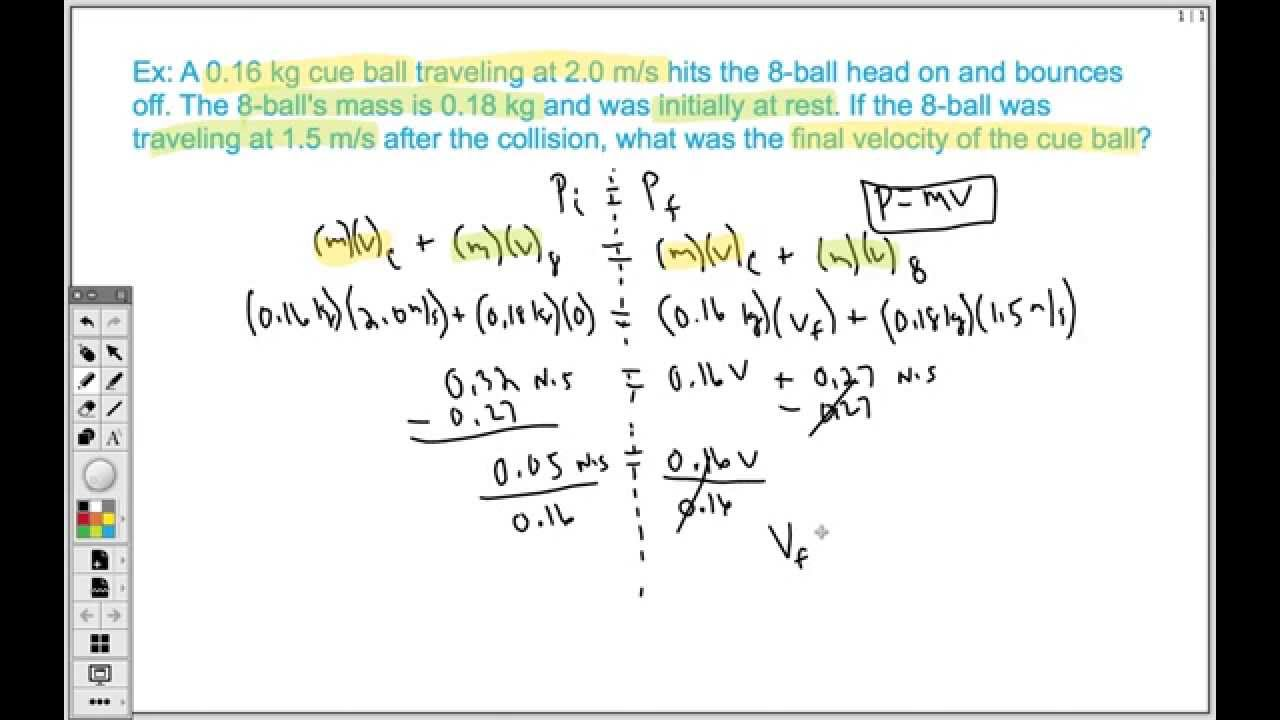 How To Solve Conservation Of Momentum Problem Elastic Collision